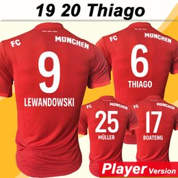 Wholesale 19 LEWANDOWSKI Player version Soccer Jerseys Bayern MULLER THIAGO TOLISSO Home Red Mens Football Shirts New BOATENG Short Sleeve Uniform