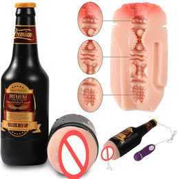 realistic male masturbation toys Australia - Male Masturbators Toys Beer Bottle Shape 10 Vibrations Pussy Pocket Big Ass Male Masturbation Cup Realistic Vaginas Sex Toys for Men B2-1-69