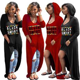 Vintage pocket t shirt online shopping - Letter Print Long Sleeve Dress Women Hi Lo hooded Black Smart Dresses V neck T Shirt loose sexy maxi pocket pullover LJJA2289