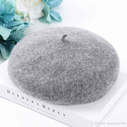 french hats beret NZ - Pure Color Women Classic Wool Felt Warm French Beret Hat Sweet Cap Winter Solid Color Beret Female Bonnet Caps