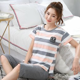 $enCountryForm.capitalKeyWord Australia - Pajamas women summer cotton ladies striped short-sleeved cropped trousers pajamas cotton suit thin section home service can be worn