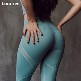 wearing yoga pants Australia - Colorvalue Yoga Pants Green Mesh Panel Scrunch BuLeggings Flex Fitness Sport Leggings High Waisted Sports Wear For Women Gym