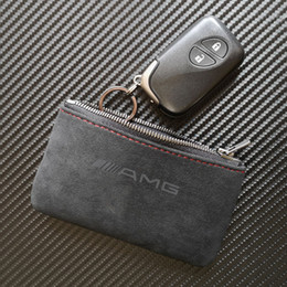 Matte Leather Key Bag Wallet Key Case Cover Holder with Keychains for Mercedes Benz AMG
