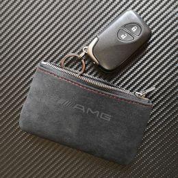 venda por atacado Titular da tampa da caixa chave da carteira do saco da chave do couro matte com o Keychains para o Benz AMG de Mercedes