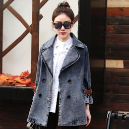 $enCountryForm.capitalKeyWord Australia - Hot Sale 2017 spring autumn new womens denim top double breasted basic jackets suit collar loose medium-long outerwear jean coat