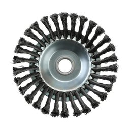wheel trimmer UK - Deburring Steel Wire Wheel Brush Disc for Grass trimmer Landscaping Rotary Brush Joint Twist Knot Grass Cutter Accessories