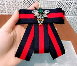 tie pin shirts Australia - 2019 Handmade Striped Academy Fabric Rhinestone Bee Shirt Pins Neck Bow Tie Bowknot Accessories Fashion Jewelry