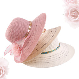 Flower Spring Top Australia - Women's Flower Knit Top Hat Western Pop Flower Straw Hat Vacation Mountaineering Tourism Beach Sunshade Sun Hat