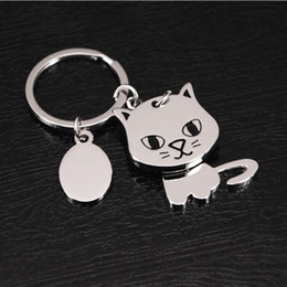 metal shake NZ - 1Pc 360 Degree Shaking Head Cat Keychain Key Ring Bag Decor Metal Pendant Key Holder For Car Women Men Fashion Birthday Gift