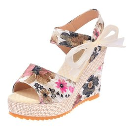 pink color women shoes wedges Australia - 2020 18 color Women Sandals Ladies Wedge Bowknot Ankle Strap Female Bohemia Platform Girls Shoes Open Toe flower High Heel Sandals