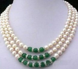 cultures pearl Canada - 3Rows 7-8MM Real White Akoya Cultured Pearl & Green Jade Pendants necklace