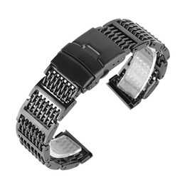 silver safety NZ - Watch Accessories 20 22 24mm Black Silver Solid Mesh Stainless Steel Watches Band Replacement Strap Polished Bracelet Straighe Ends