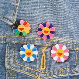 $enCountryForm.capitalKeyWord Australia - Fashion Colorful Rainbow Flower Enamel Pins Smiling Flower Brooch Sun Flower Badges Cute Art Gifts Men Women