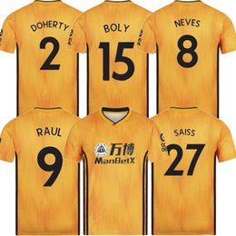 Wholesale 2019 ADULT HOME SHIRT Wolverhampton Wanderers Top Quality NEVES RAUL Soccer Jerseys Diogo Jota Leo Costa WOLVES FC Football Shirt