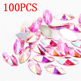 flat back acrylic rhinestones shapes Canada - High quality pink AB crystal resin rhinestone horse eye shape flat back tip multi-faceted 7x15MM 100Pcs decorative accessories