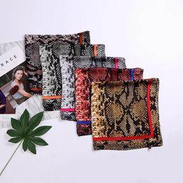 Discount satin silk square hijab - New 70x70cm Women Silk Scarf Fashion Sexy snake Printed Satin Square Wraps Scarves Shawl Shawls Chiffon Hijab