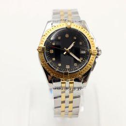 Luxury womens diamond watches online shopping - Wristwatch Black Diamond Pearl Dial Superocean Quartz Movement Galactic Two Tone Steel Ladies Wristwatches Fashion Womens Watches