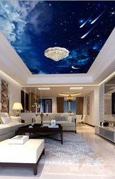 Sky ceiling wallpaper online shopping - Modern D Photo Wallpaper Beautiful night sky meteor ceiling Wall Papers Home Interior Decor Living Room Ceiling Lobby Mural Wallpaper