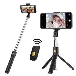 Wholesale Bluetooth Selfie stick tripod for mobile cell phone with remote shutter extension handheld protable extend wireless universal selfie sticks