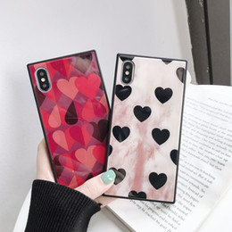 Love Iphone Australia - Makeup Eyeshadow Palette Phone Case Square 9H Tempered Glass Phone Case Glossy Vogue Retro Love Heart Pattern Cases Back Cover For iphone Xs