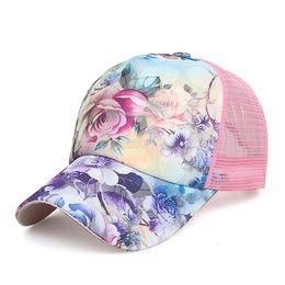 Hip Hop girls baseball caps online shopping - Girl Rose Flower Caps Unisex Classic Baseball Hats Summer Mesh Hat Snapback Leisure sunshade Cap Hip Hop Hat colors GGA2496