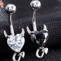 jewelry stainless steel navel rings heart litter devil bell button rings for women hot fashion on Sale