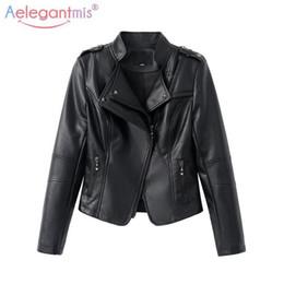 $enCountryForm.capitalKeyWord NZ - Aelegantmis Pop Sale Classic Women Soft Faux Leather Jackets Lady Cool Zippers Motorcyle Biker Jacket Slim Short Outerwear Black