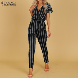 $enCountryForm.capitalKeyWord Australia - Zanzea 2019 Elegant Rompers Women Jumpsuit Female Striped Pants Office Ladies Bodysuits V Neck Belted Summer Trouser Plus Size MX190726