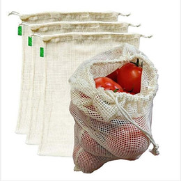 Grade Saco Legumes Fruta Bag Pure Color comerciais Ambiental sacos de cordão Sacos Início Cozinha Storage Organização WY341Q em Promoção
