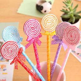 Discount color ball point pens - 12Pcs Limit Shows Novelty Cute Plastic Candy Color Ball Point Pen Lollipop Shape Biro Ballpen Kids Party Gift Supplies