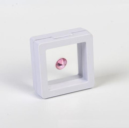 Wholesale Boxes Packaging Australia - 50*50mm PET Membrane Floating Display Case Earring Gems Ring Jewelry Suspension Packaging Box