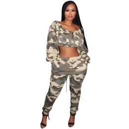 a50711b1f94cb Camouflage Print 2 Piece Outfits For Women Front Zipper Long Lantern Sleeve  Crop Top+ Pockets Drawstring Pants Casual Sweatsuit