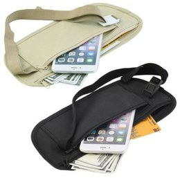 Wholesale New Travel Waist Pouch for Passport Money Belt Bag Hidden Security Wallet Black