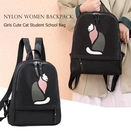 74975a88f43 Casual Cute Cat Backpack Women Teens Girl Oxford Simple Large Capacity  Travel Student Square School Bag Black Pink Red