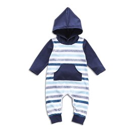 ce2021bc2 Baby Boy Rompers Hooded Long Sleeve Rompers Three Color Stripes Onesies Big  Pocket Newborn Infant Baby Boy Designer Clothes Jumpsuit 32