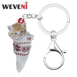 christmas socks for men Australia - WEVENI Acrylic Christmas Sock Short Hair Cat Kitten Key chains Key Rings Bag Car Wallet Keychains For Women Girls Men Charm Gift