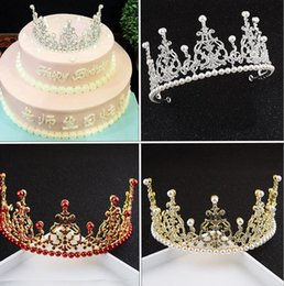 decorations anniversary NZ - Bridal tiara birthday big crown pearl style decoration wedding wholesale cake multi-drill decoration baking