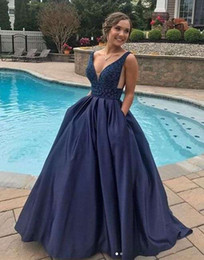 pear drop crystal NZ - 2019 Elegant V Neck Evening Dresses Beaded Crystal Backless Navy Blue A Line Satin Sweep Train Formal Occasion Prom Party Dresses Custom Mad