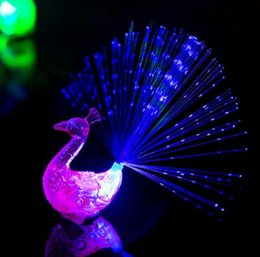 $enCountryForm.capitalKeyWord Australia - 3 Colors Peacock Finger Light Up Ring Laser LED Party Rave Favors Glow Beams Toys Peacock Night Light