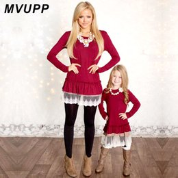 mother daughter lace matching dresses NZ - Mommy and Me Fashion Dresses MVUPP mother daughter dresses Lace Patchwork Red Solid long sleeves Family Matching Clothes TUNICS