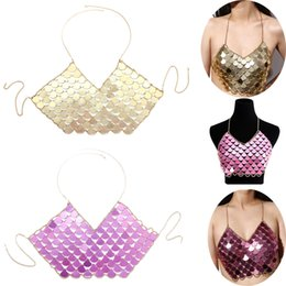 Chinese  Summer Beach Women Sexy Bra Chest Belly Chains Ladies Deep V Neck Shiny Sequins Bikini Tops Vest Body Chain Harness Necklace Body Jewelry manufacturers