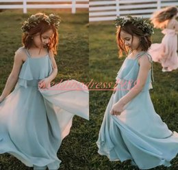 Communion flower online shopping - Chiffon Bohemian Girls Pageant Dress Spaghetti Cheap Girl Birthday Gowns Kids Formal Party Wear Flower Girls Dresses First Communion Dress