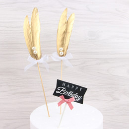 $enCountryForm.capitalKeyWord Australia - Gold Feather Birthday Cupcake Toppers Decoration Baby Shower for Boy Girl Wedding Party Cake Topper Flag Decoration