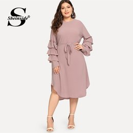$enCountryForm.capitalKeyWord Australia - wholesale Plus Size Layered Sleeve Pearls Beaded Dress Women 2019 Spring Elegant Flounce Sleeve Midi Dresses Ladies A Line