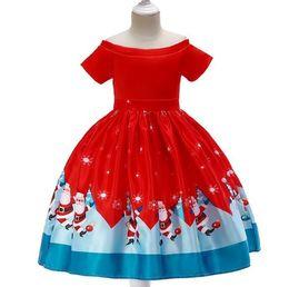 $enCountryForm.capitalKeyWord Australia - 2019 Christmas costume children's Christmas dress girl print skirt Santa Claus dress snowflake satin show dress