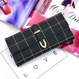 Slim Phone Wallet Australia - Wallet For Women Purse Girls Thread Plaid Leather Fashion Design With Polyester Phone Bag Long Slim Ladies Wallet Female