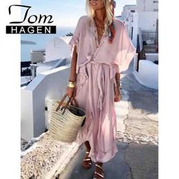 $enCountryForm.capitalKeyWord Australia - Tom Hagen Summer Boho Style Long Women Short Sleeve Loose Ruffled Casual Beach Vintage Chiffon Pink Maxi Dress MX190725