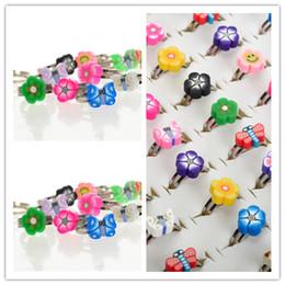 $enCountryForm.capitalKeyWord NZ - Wholesale 50pcs Lots Bulk Mixed Flower Shape Children Kids Polymer Clay Finger Ring Hot Sell Charm Jewelry Gift