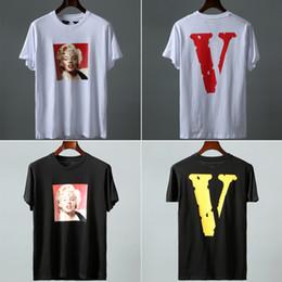 $enCountryForm.capitalKeyWord NZ - 19SS Vlone Marilyn Monroe Tee Top Version Big V Friends Short Sleeve T-shirt Marilyn Monroe Photo Hip Hop Tees NCI0613