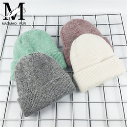Wholesale vogue woman cashmere resale online - 2017 New Winter Hat for Women Rabbit Cashmere Knitted Beanies Thick Warm Vogue Ladies Wool Angora Hat Female Beanie Hats Y200103